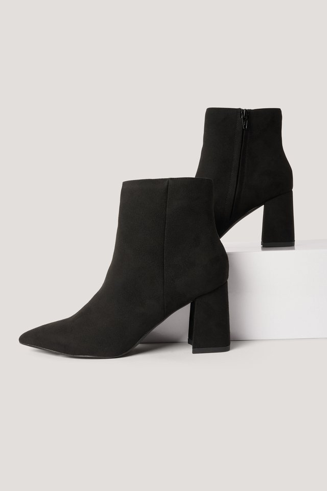 Black Basic Slanted Heel Faux Suede Boots