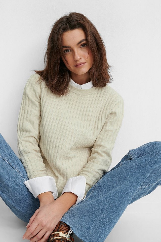 Basic Soft Roundneck Sweater Dusty Light Beige