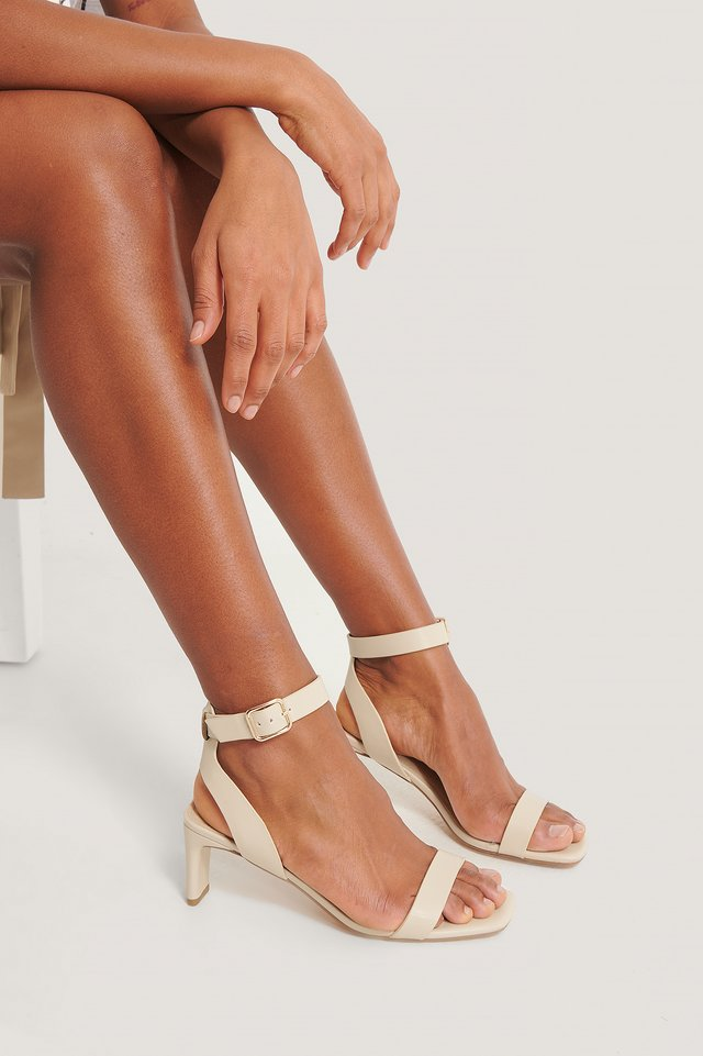 Basic Squared Heel Sandals Natural