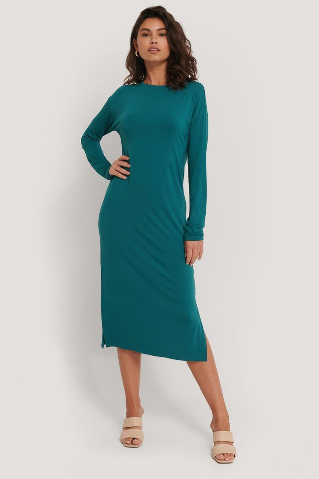 Basic Straight Midi Dress Ocean Blue
