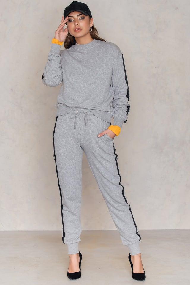 Basic Striped Sweatpants Grey Mel