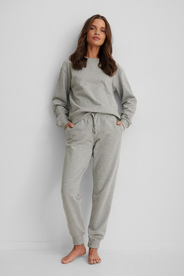 Grey Melange Basic Sweatpants