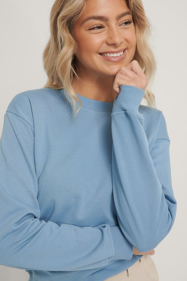 Faded Denim Basic Sweater