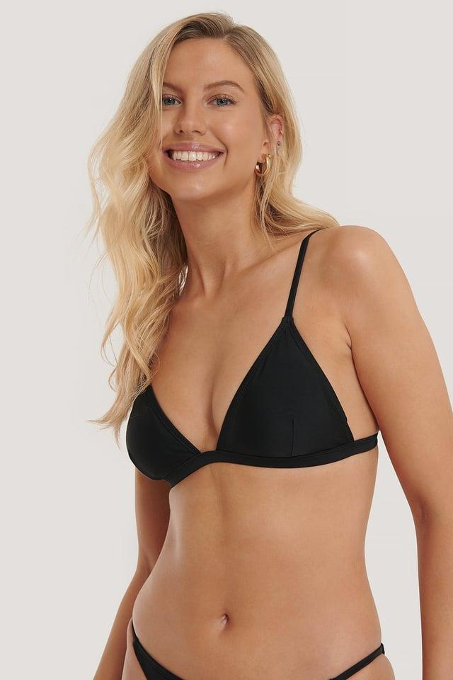 Black Prosty Trójkątny Biustonosz Bikini