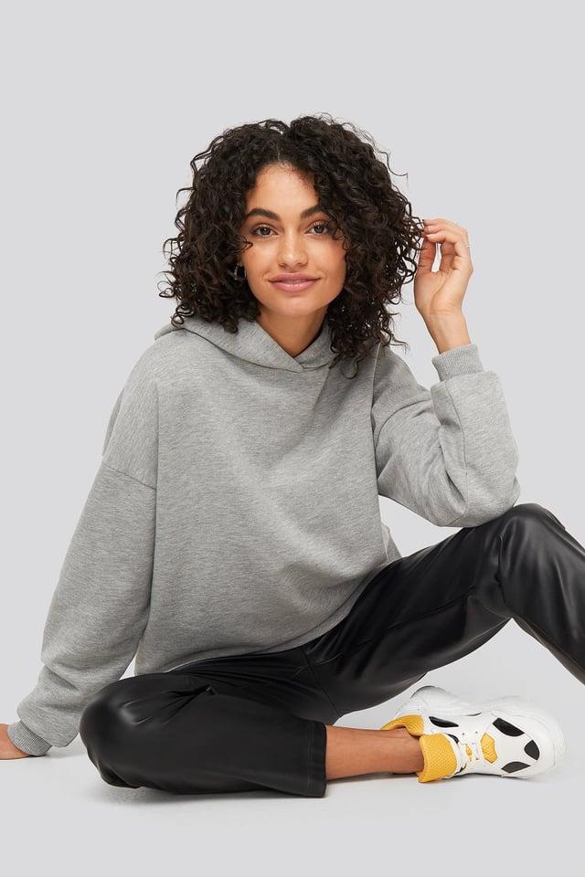 Grey Mel Basic Wide Hoodie