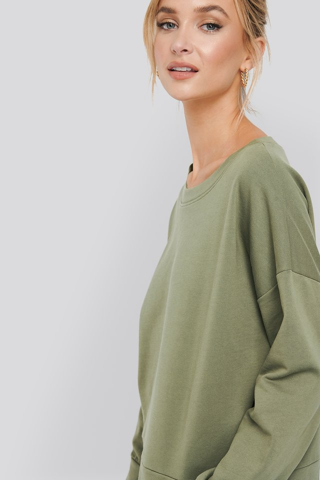 Khaki Basic Wide Sweater