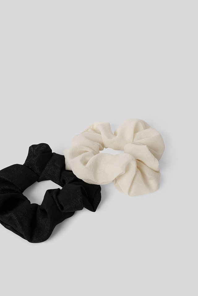 Basic Woven Scrunchies (2-pack) Black/White
