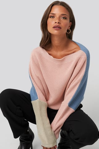 Pink Batwing Cropped Ribbed Sweater