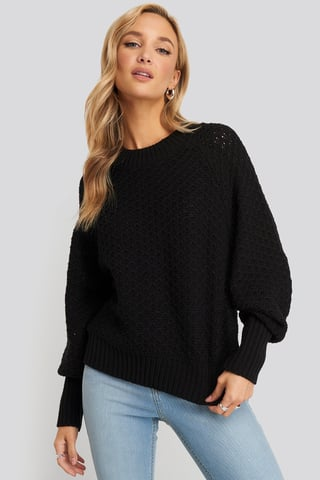 Black Batwing Knitted Sweater