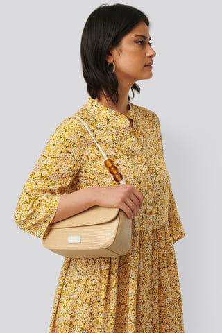 Beige Bead Strap Shoulder Bag