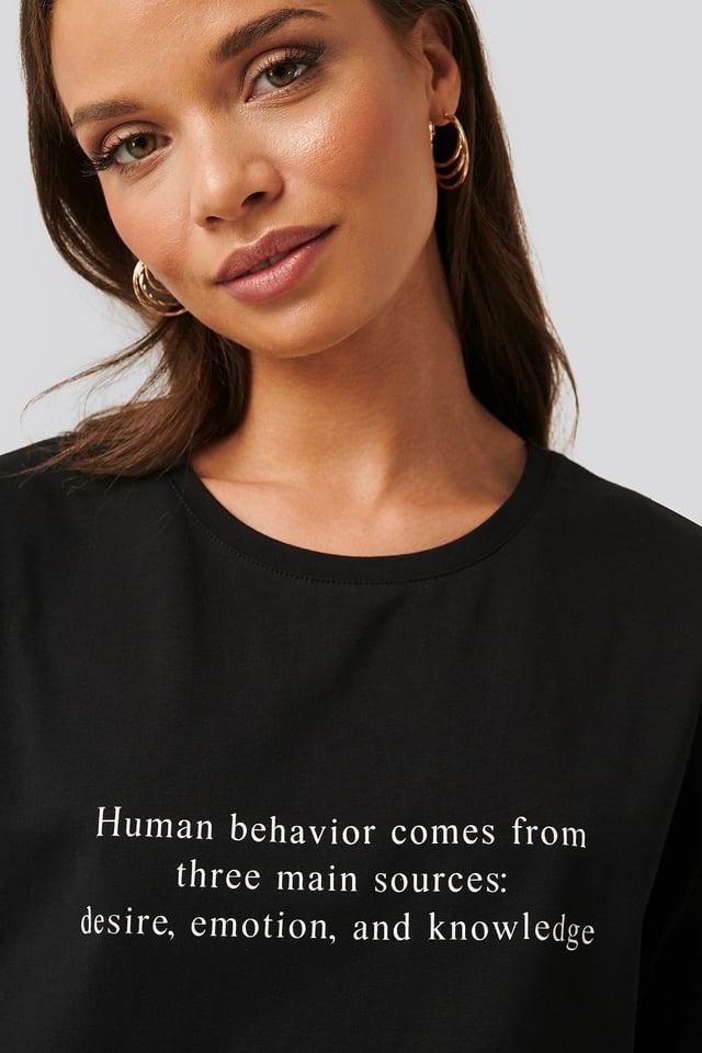 Behavior Print Oversized Tee Black