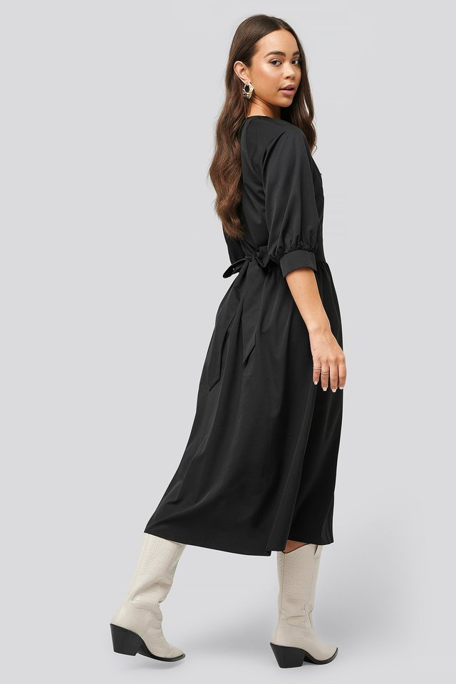 Belted Balloon Sleeve Dress Black
