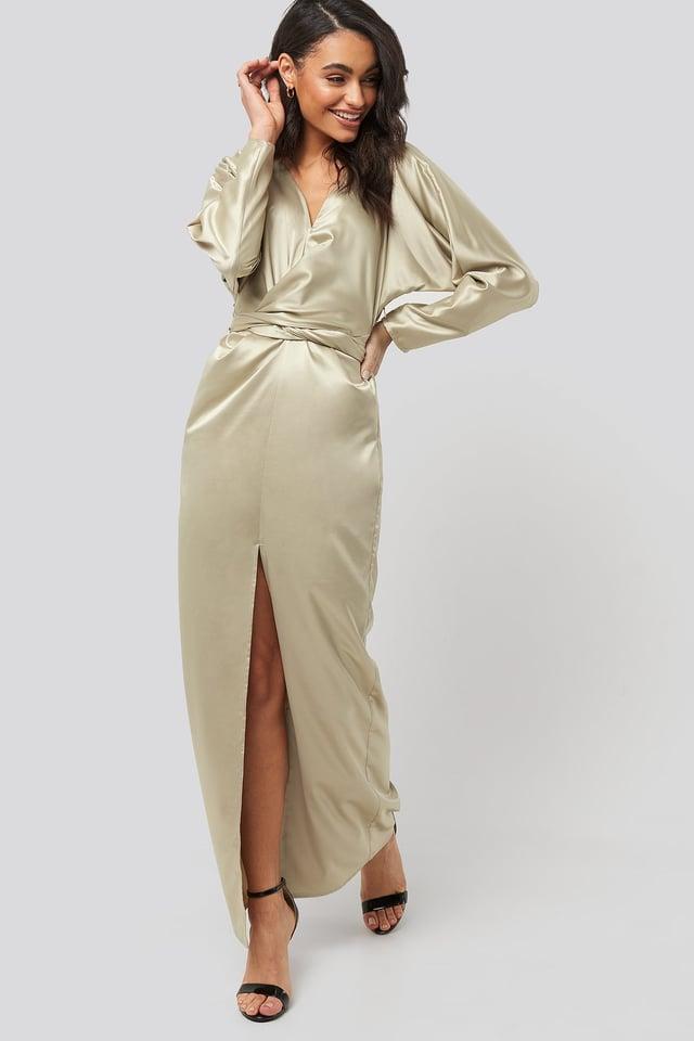 Belted Batwing Sleeve Maxi Dress Beige