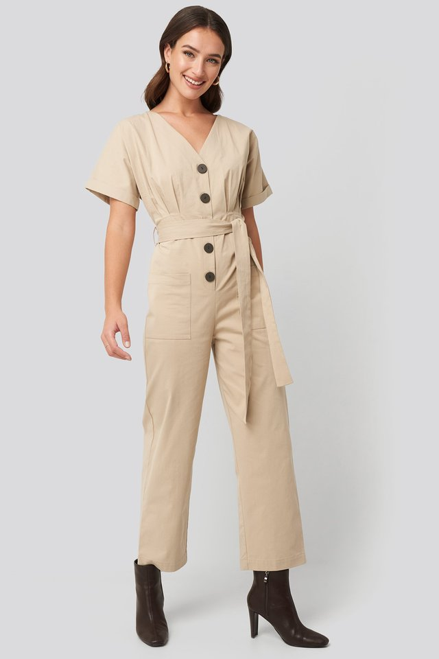 Beige Belted Button Up Jumpsuit