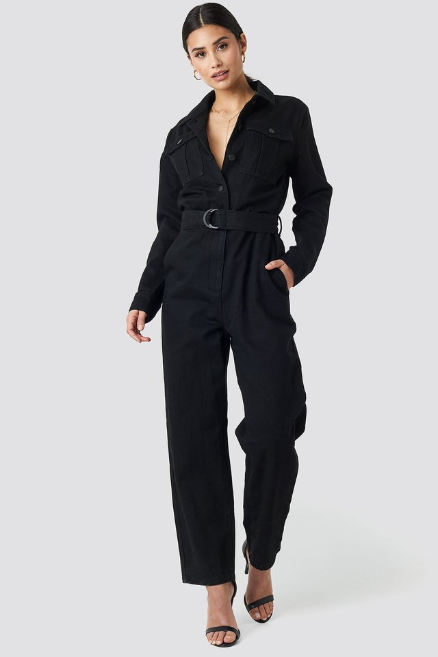 Belted Cargo Jumpsuit Black