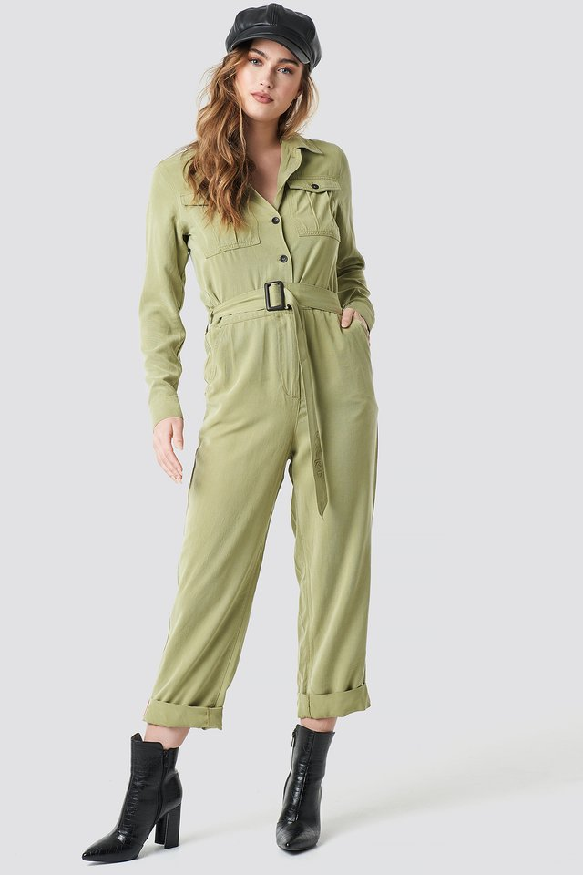Belted Cargo Jumpsuit Green