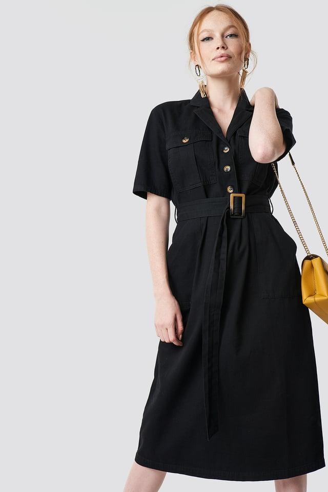 Belted Cargo Midi Dress Black