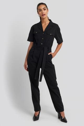 Black Belted Cargo Short Sleeve Jumpsuit