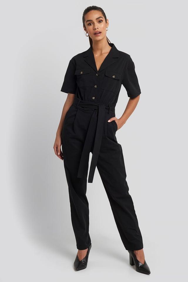 Belted Cargo Short Sleeve Jumpsuit Black
