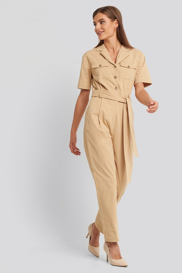 Belted Cargo Short Sleeve Jumpsuit Tan