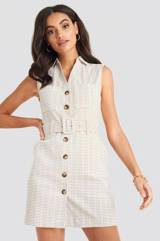 Check Belted Cargo Sleeveless Dress
