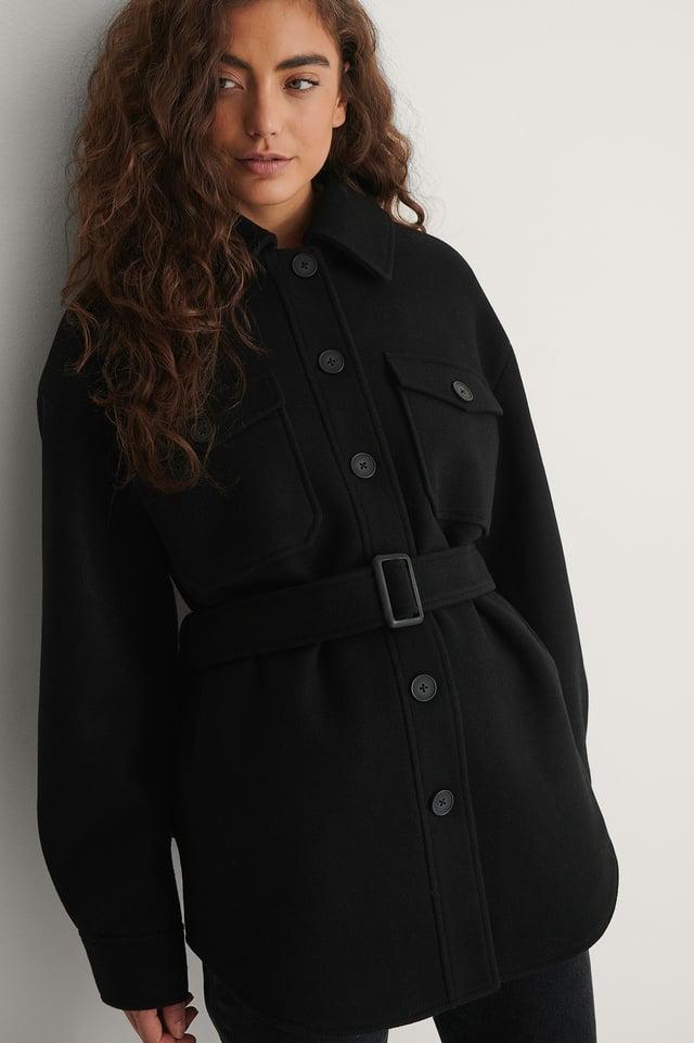 Black Belted Chest Pocket Jacket