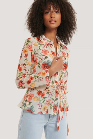 Flower Print Bluse Med Knapper