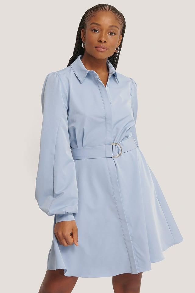 Light Blue Belted Collar Shirt Dress