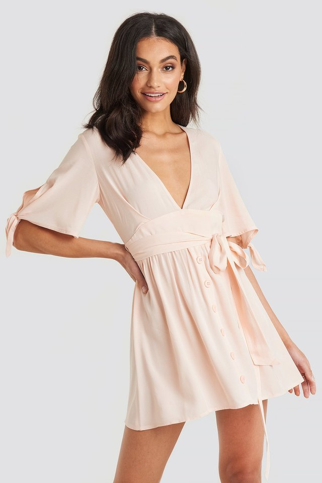 Belted Deep V Mini Dress Pink