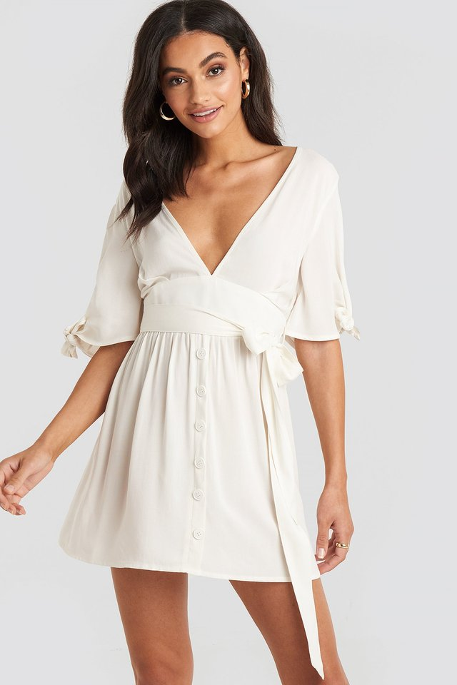 Belted Deep V Mini Dress Off White