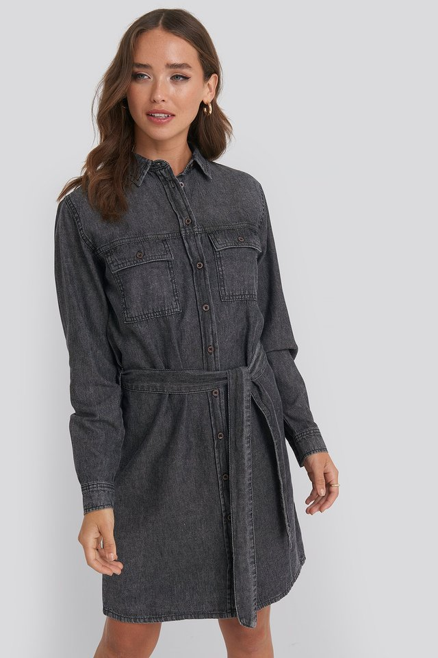 Belted Denim Dress Black