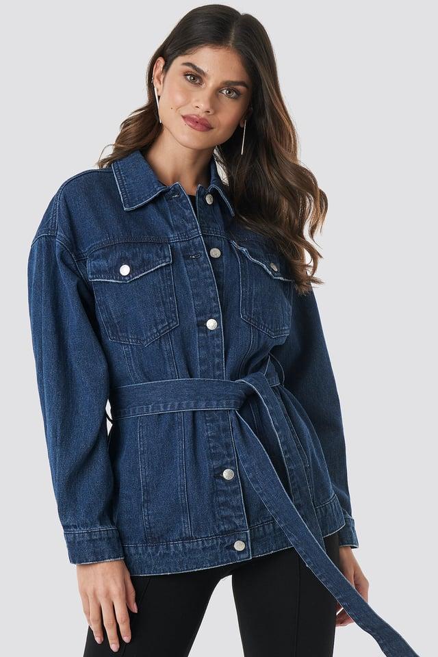 Belted Denim Jacket NA-KD Trend