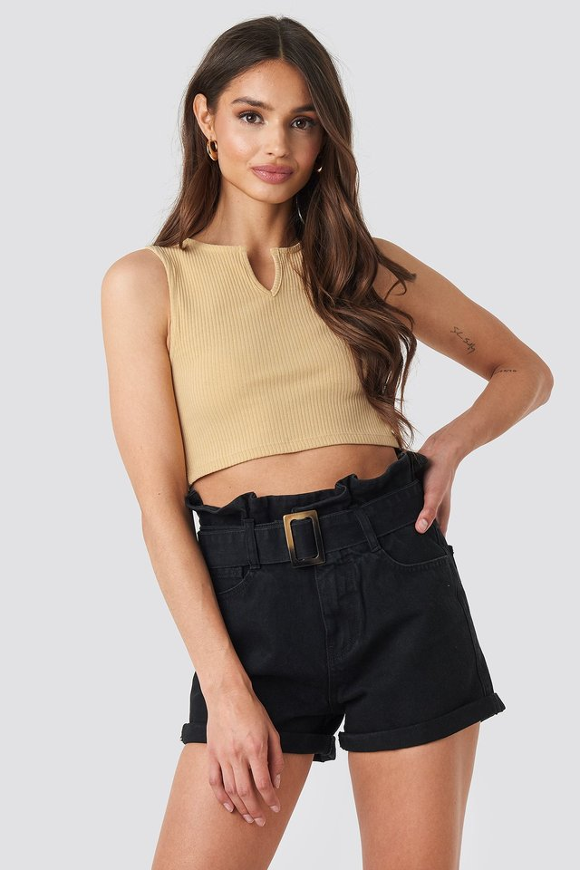 Belted Denim Shorts Black