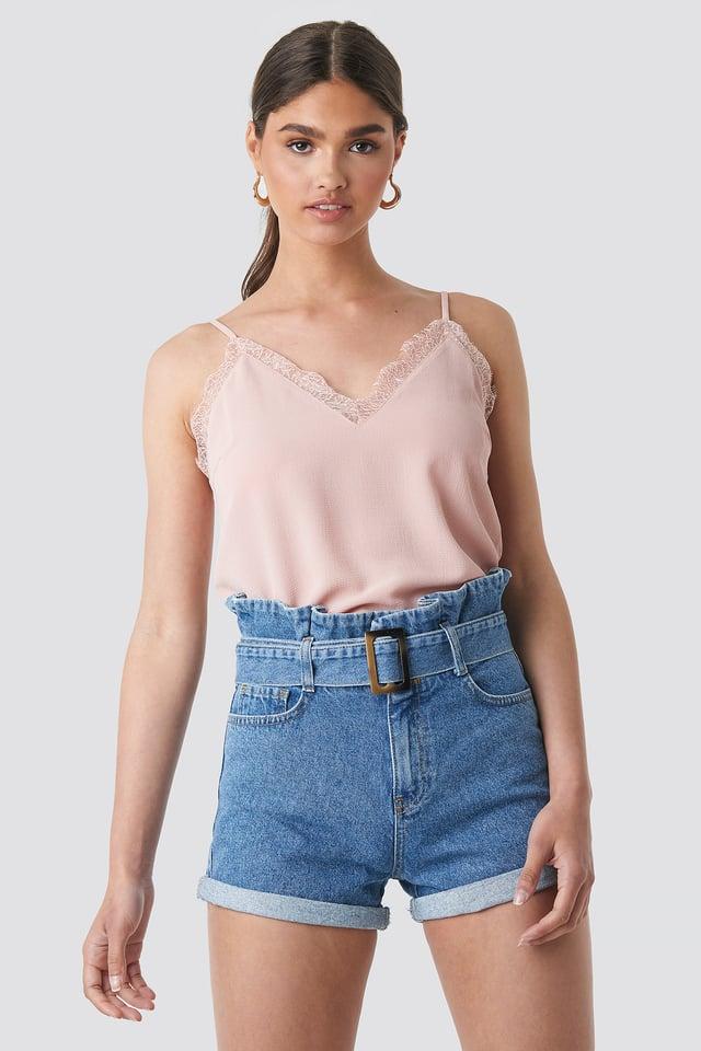 Belted Denim Shorts Mid Blue
