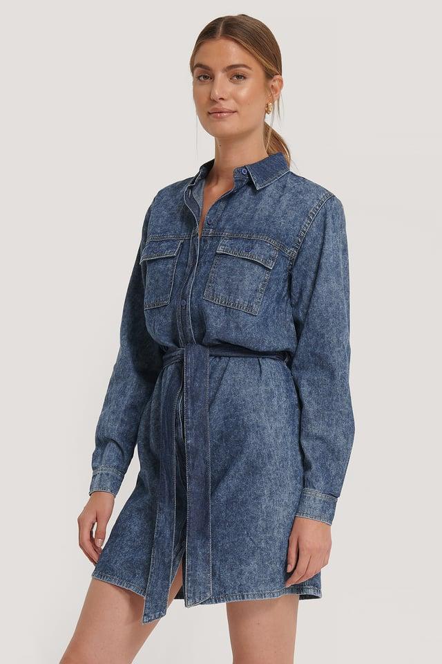 Belted Denim Dress Mid Blue