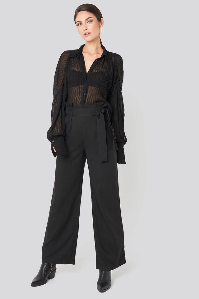 Belted Flared Pants Black