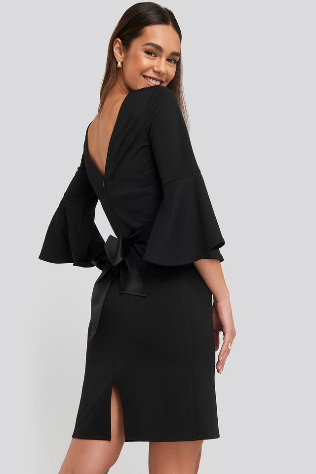 Belted Flute Sleeve Bodycon Dress Black