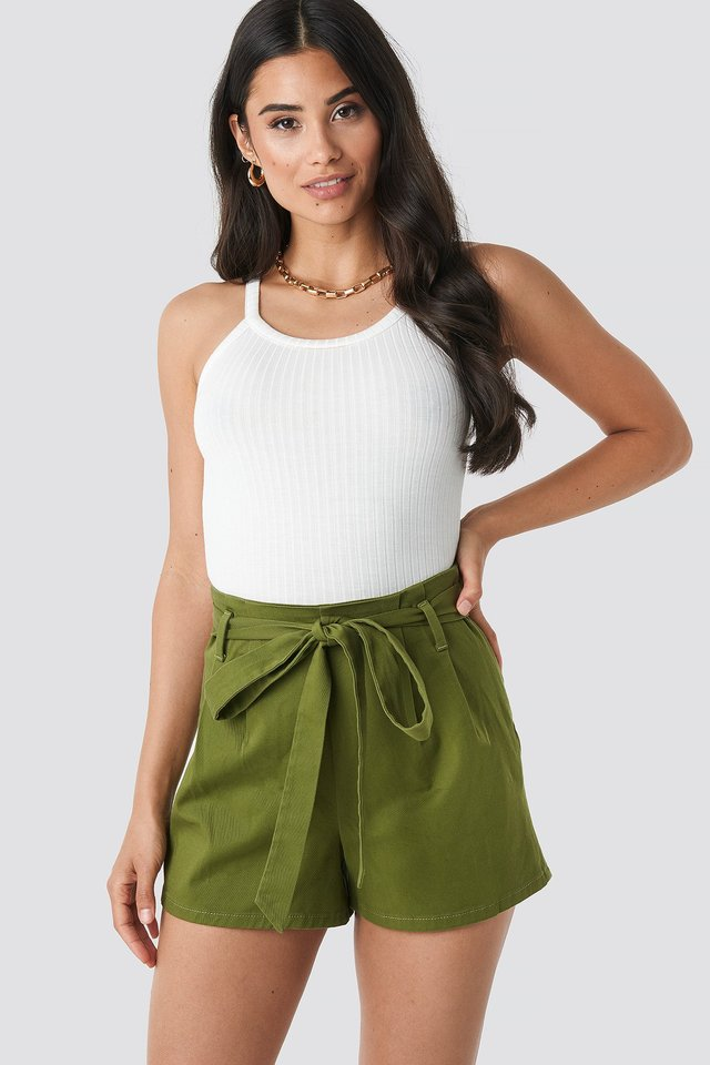 Belted High Waist Shorts Khaki
