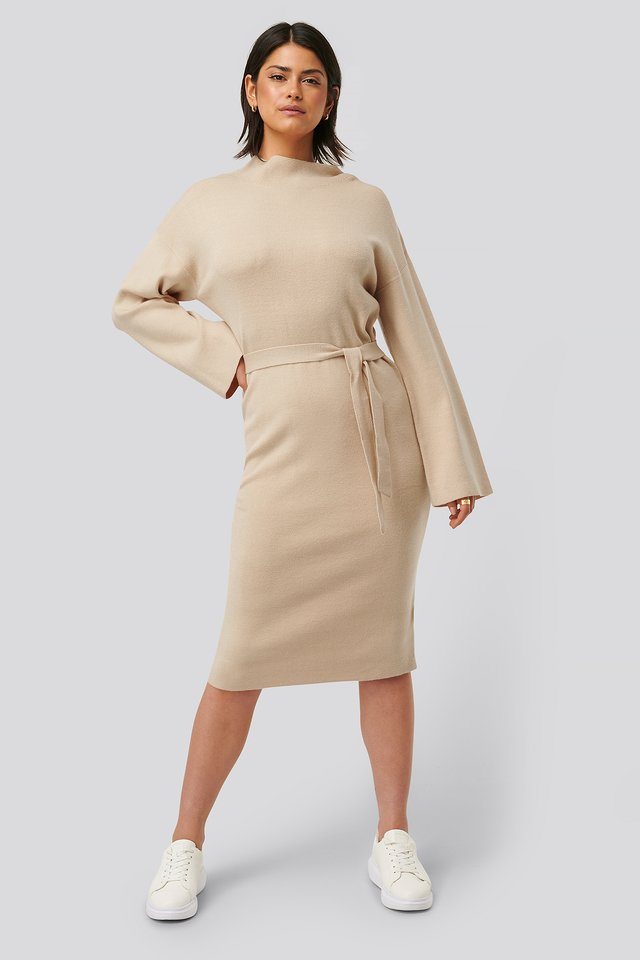 Belted Knitted Dress Beige