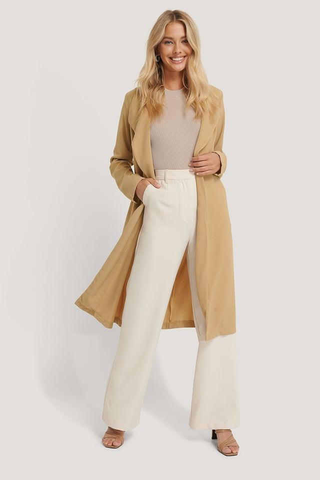 Belted Light Coat Beige