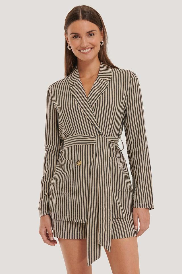 Black Stripe Belted Linen Blazer