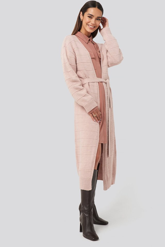 Shell Belted Long Cardigan