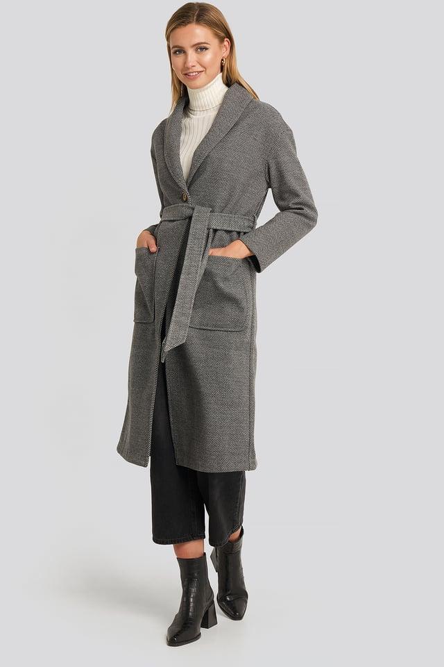 Belted Long Coat Printed
