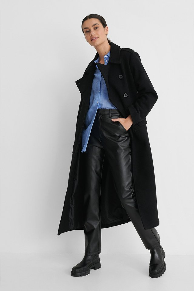 Black Belted Long High Neck Coat