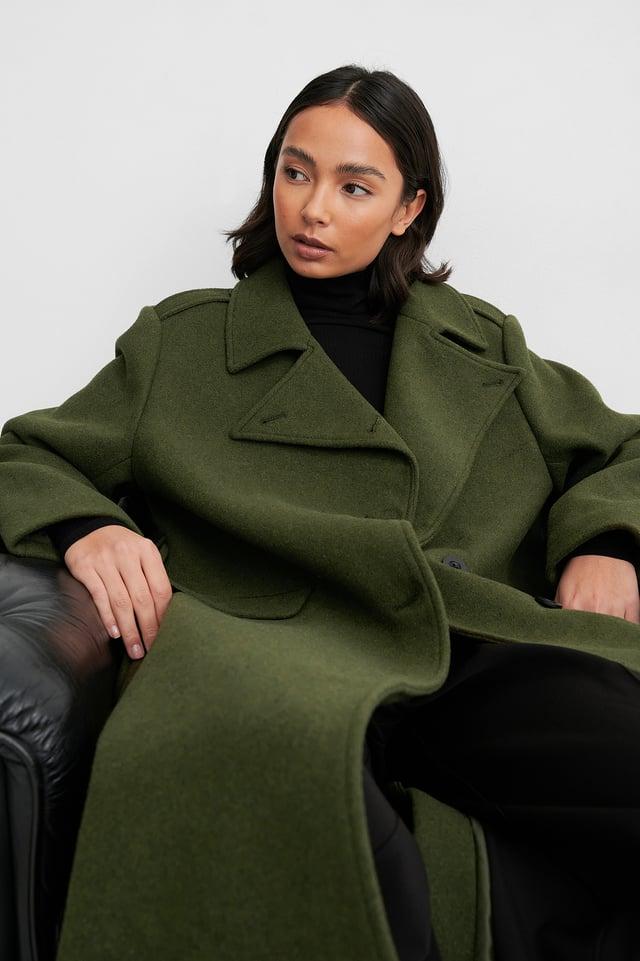 Green Belted Long High Neck Coat