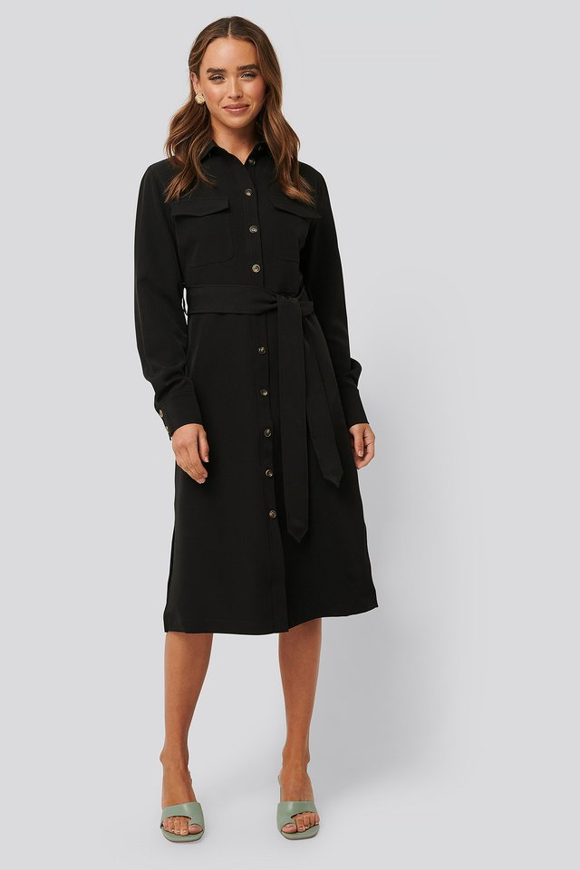 Black Belted Long Shirt Dress
