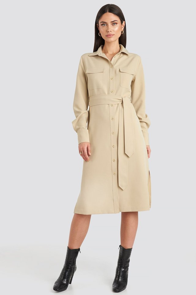Belted Long Shirt Dress Sand