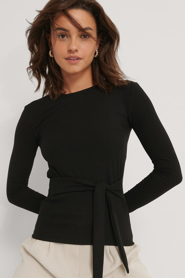Recycled Belted Long Sleeve Top Black