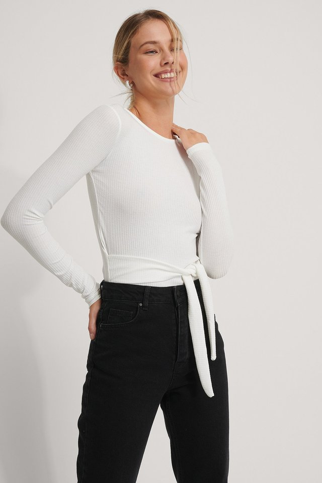 Recycled Belted Long Sleeve Top Offwhite