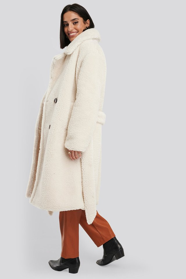 Belted Long Teddy Coat Offwhite